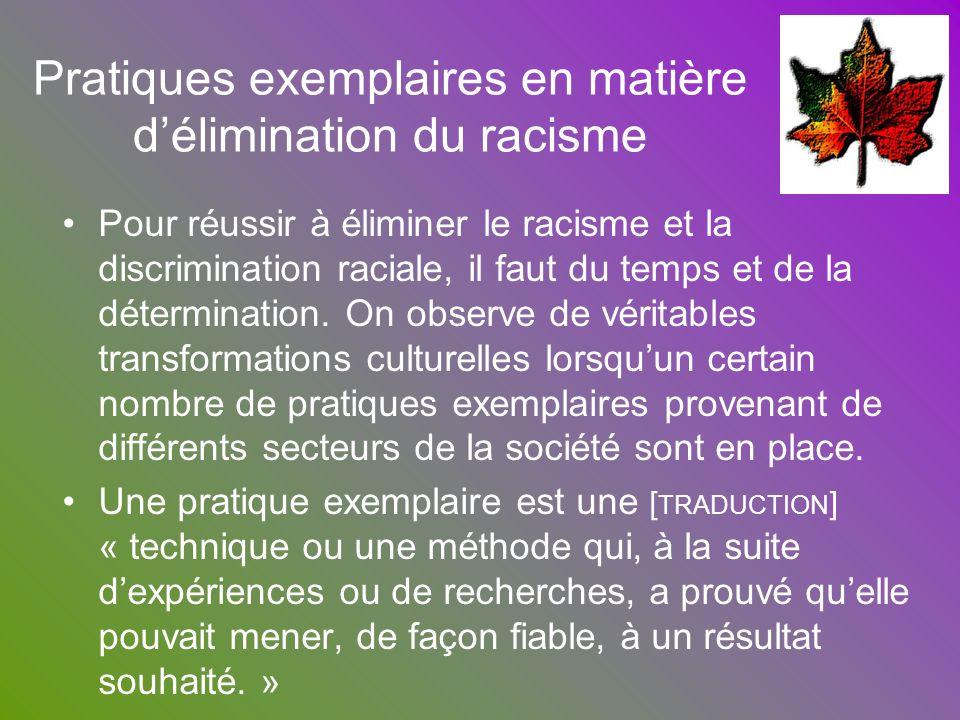 Pratiques exemplaires en matière d'élimination du racisme
