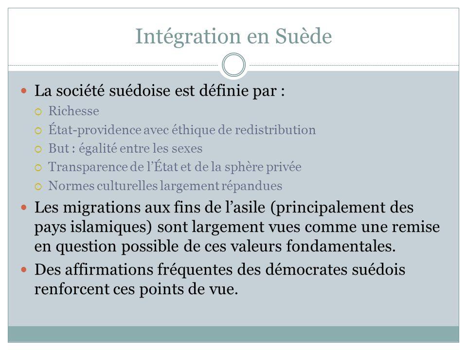 Intégration en Suède La société suédoise est définie par :
