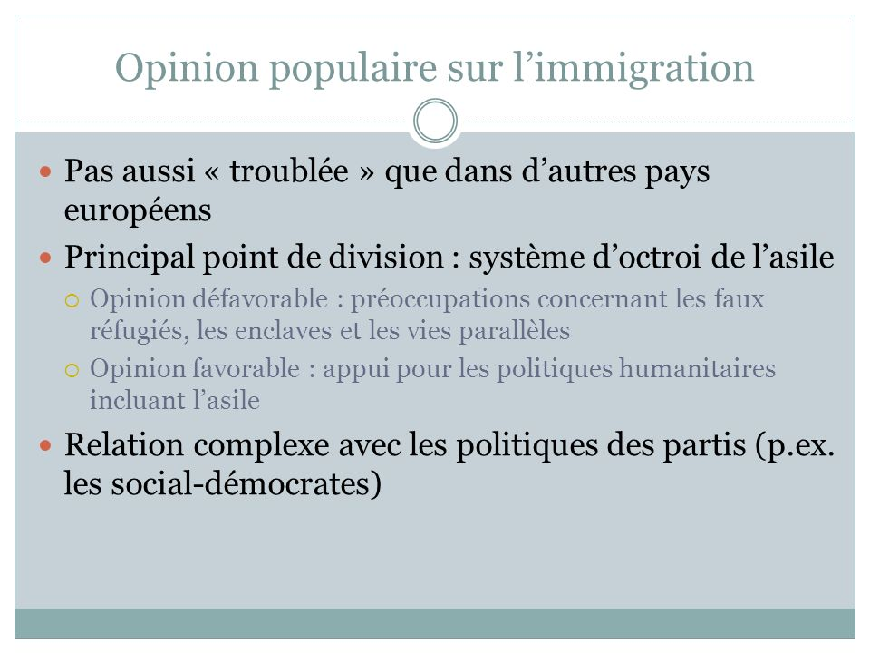 Opinion populaire sur l'immigration