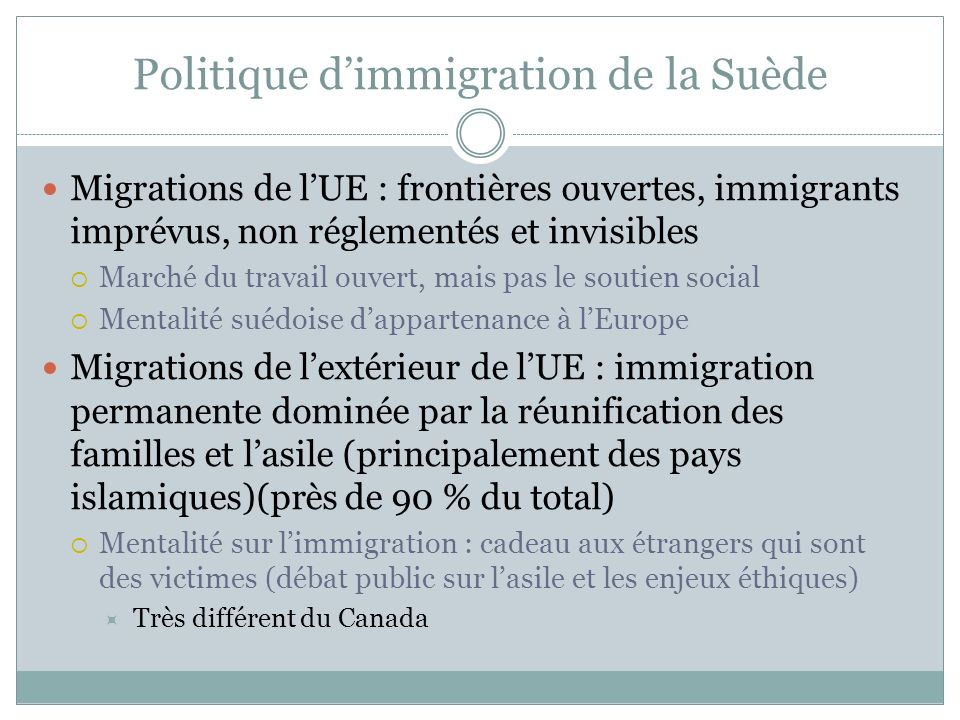 Politique et politiques de l immigration en su de for Parrainage epoux exterieur canada