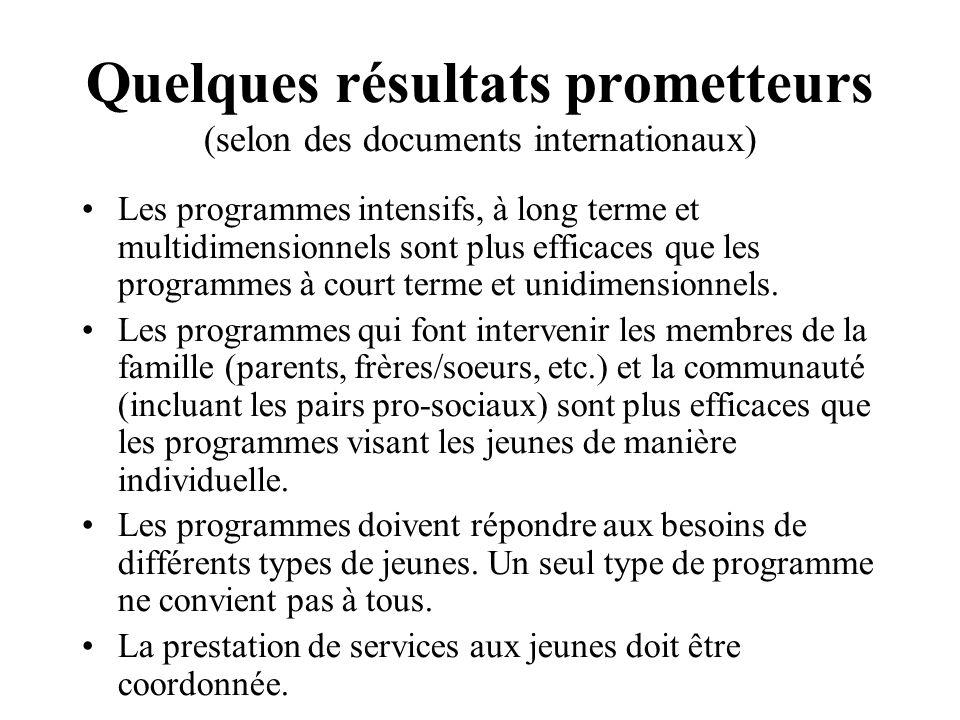 Quelques résultats prometteurs (selon des documents internationaux)
