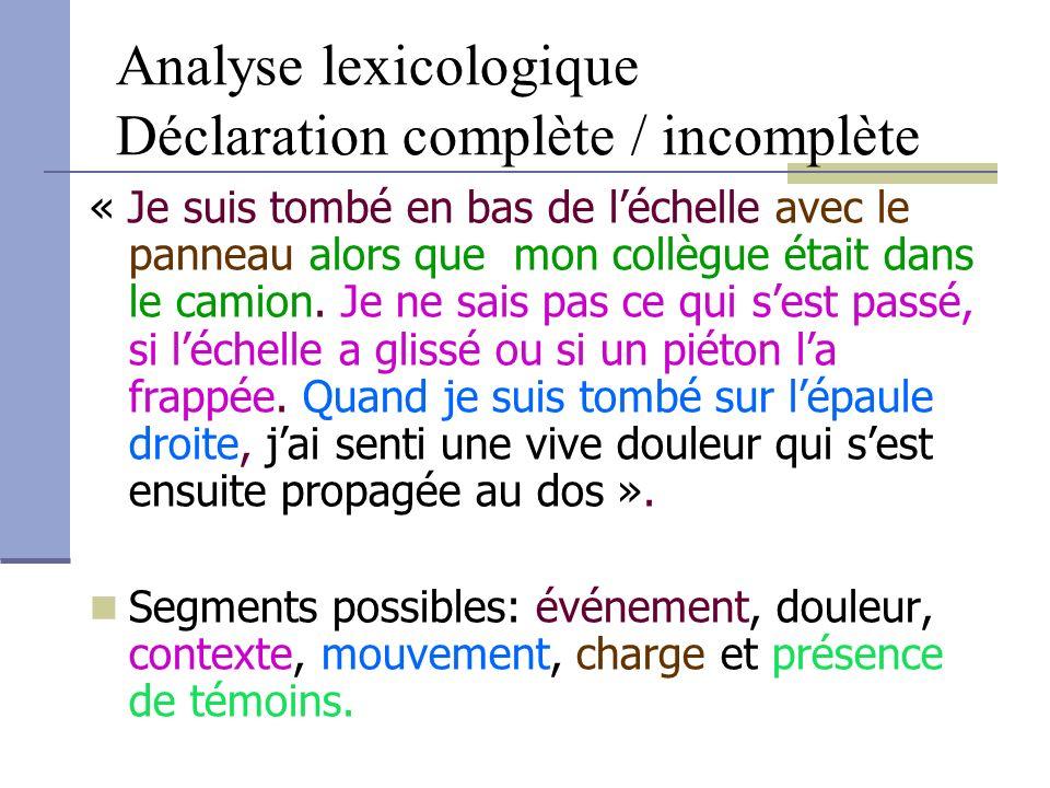 Analyse lexicologique Déclaration complète / incomplète