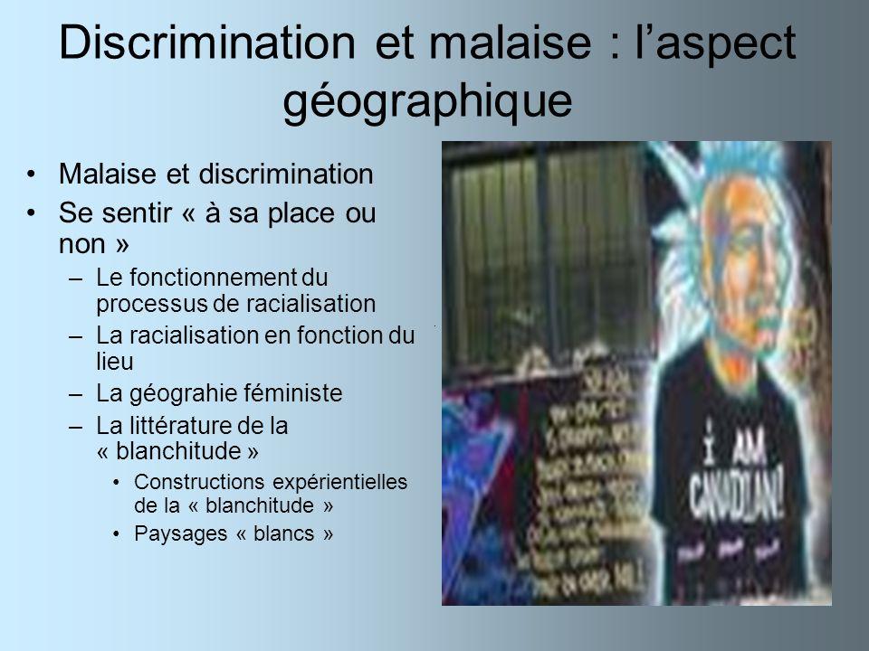 Discrimination et malaise : l'aspect géographique