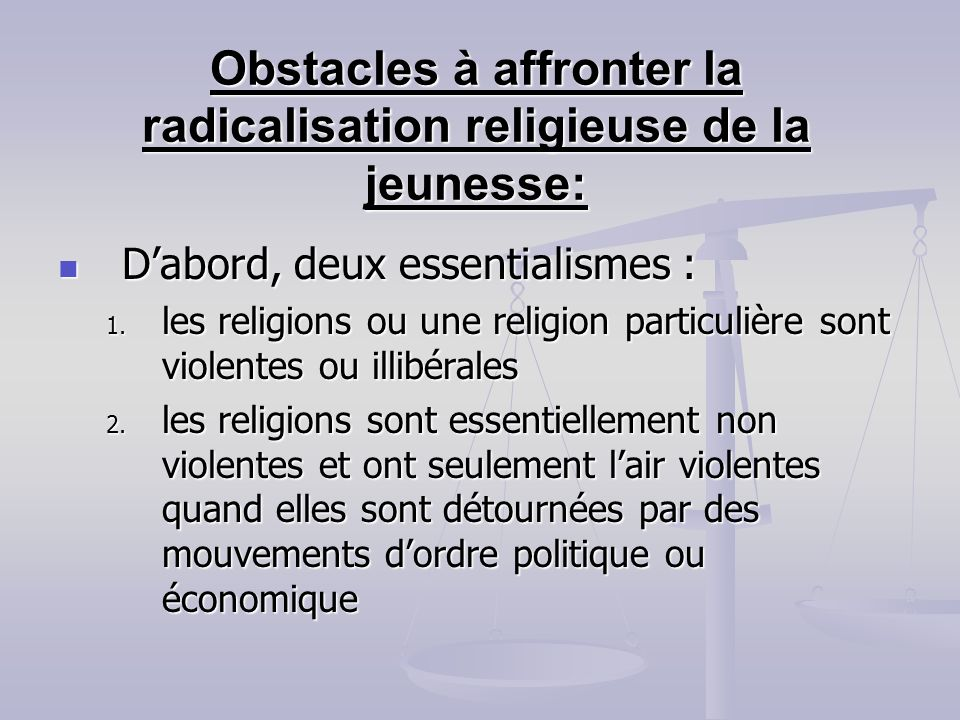 Obstacles à affronter la radicalisation religieuse de la jeunesse:
