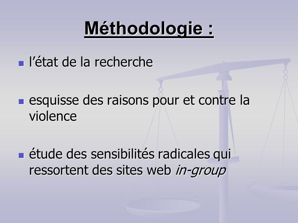 Méthodologie : l'état de la recherche