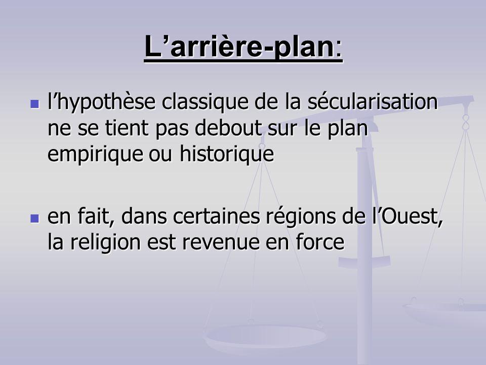 L'arrière-plan: l'hypothèse classique de la sécularisation ne se tient pas debout sur le plan empirique ou historique.