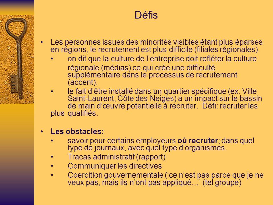 Défis • Les personnes issues des minorités visibles étant plus éparses en régions, le recrutement est plus difficile (filiales régionales).