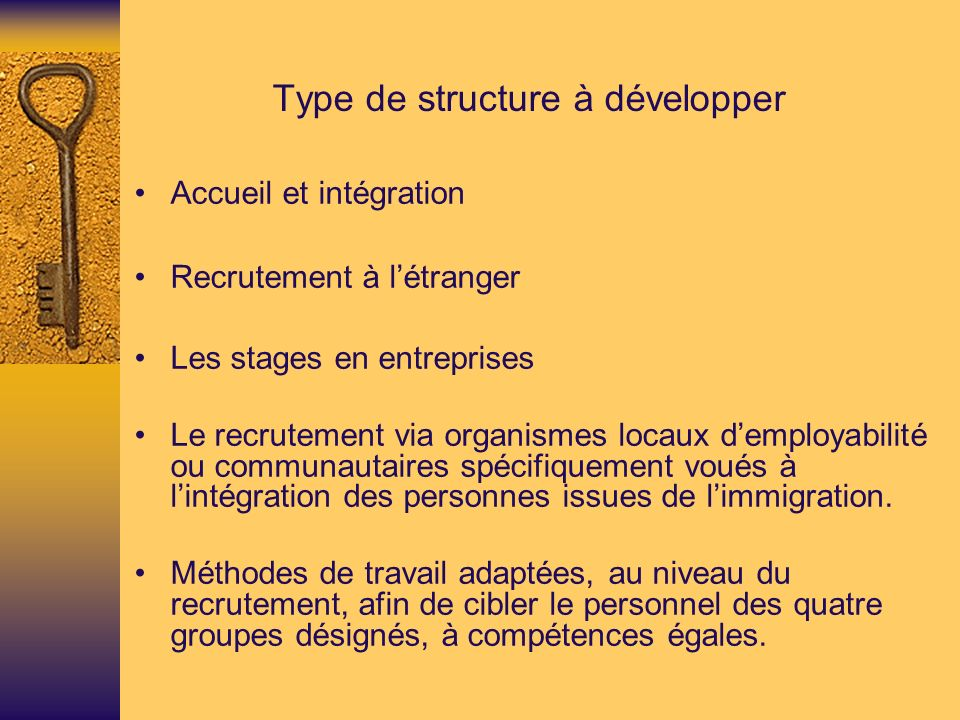 Type de structure à développer