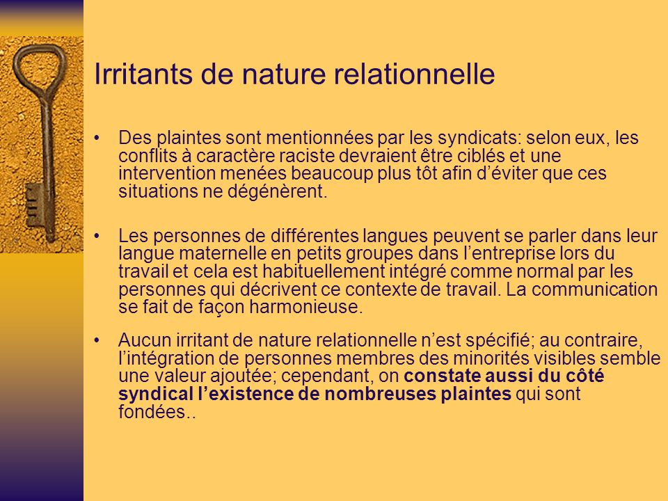Irritants de nature relationnelle