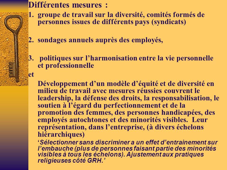 Différentes mesures : 1. groupe de travail sur la diversité, comités formés de personnes issues de différents pays (syndicats)
