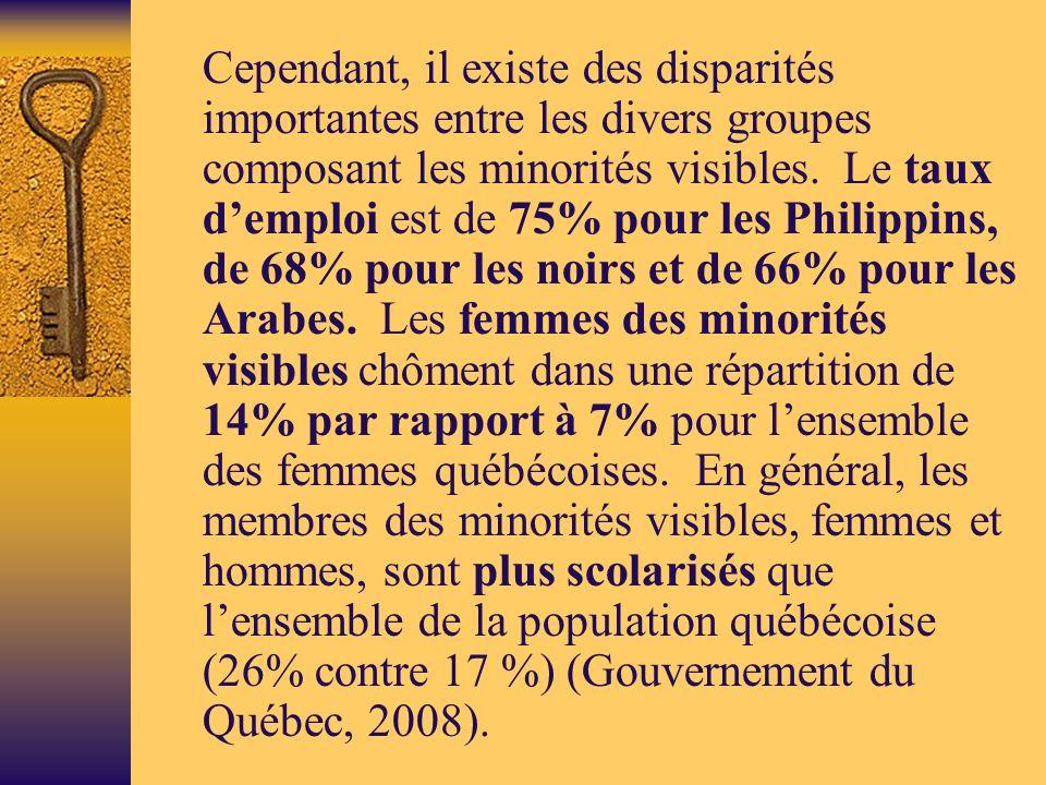 Cependant, il existe des disparités importantes entre les divers groupes composant les minorités visibles.