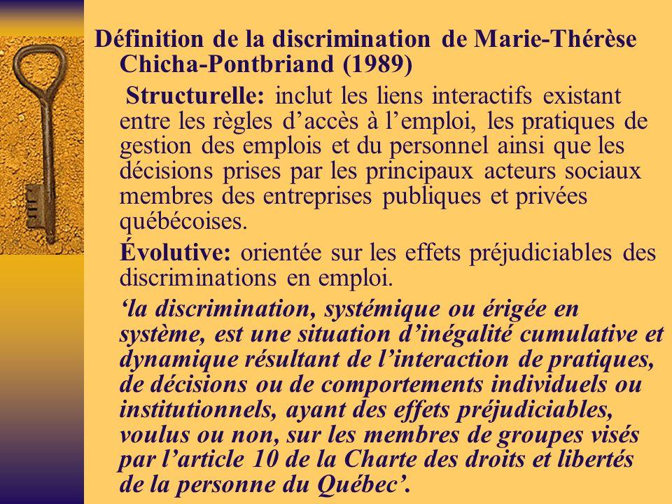 Définition de la discrimination de Marie-Thérèse Chicha-Pontbriand (1989)