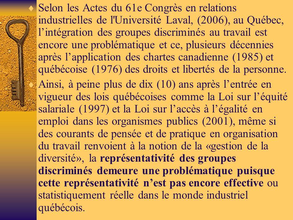 Selon les Actes du 61e Congrès en relations industrielles de l Université Laval, (2006), au Québec, l'intégration des groupes discriminés au travail est encore une problématique et ce, plusieurs décennies après l'application des chartes canadienne (1985) et québécoise (1976) des droits et libertés de la personne.