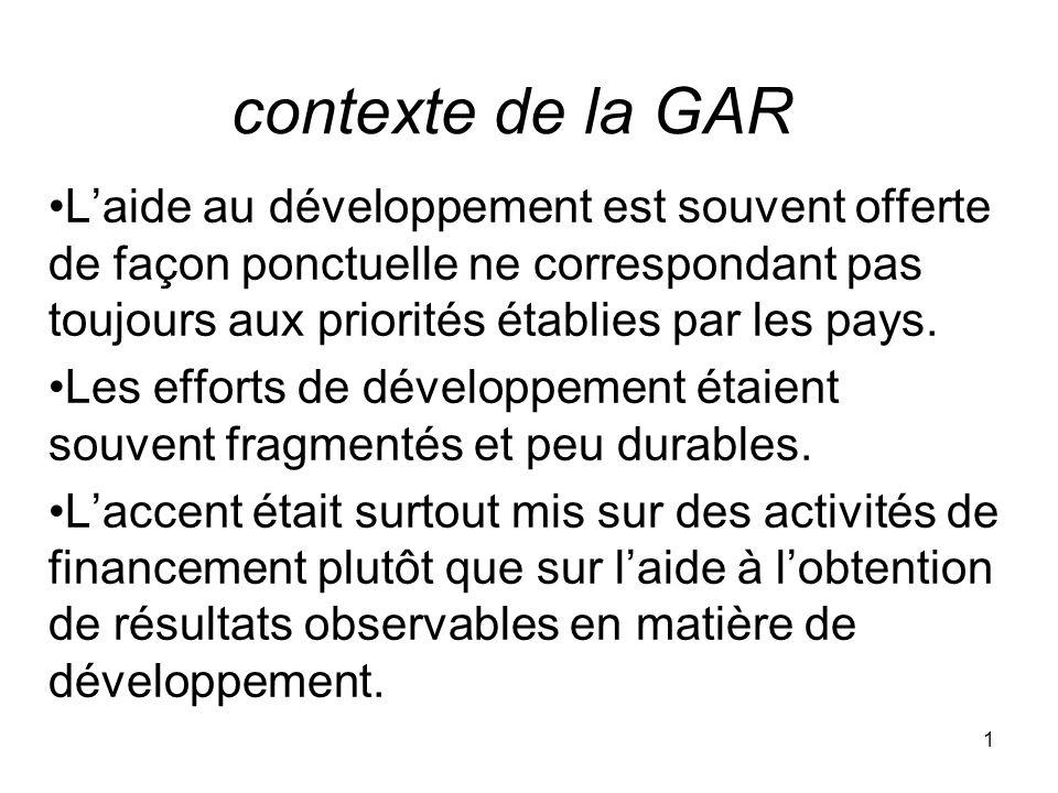 contexte de la GAR L'aide au développement est souvent offerte de façon ponctuelle ne correspondant pas toujours aux priorités établies par les pays.