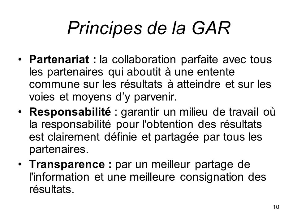 Principes de la GAR