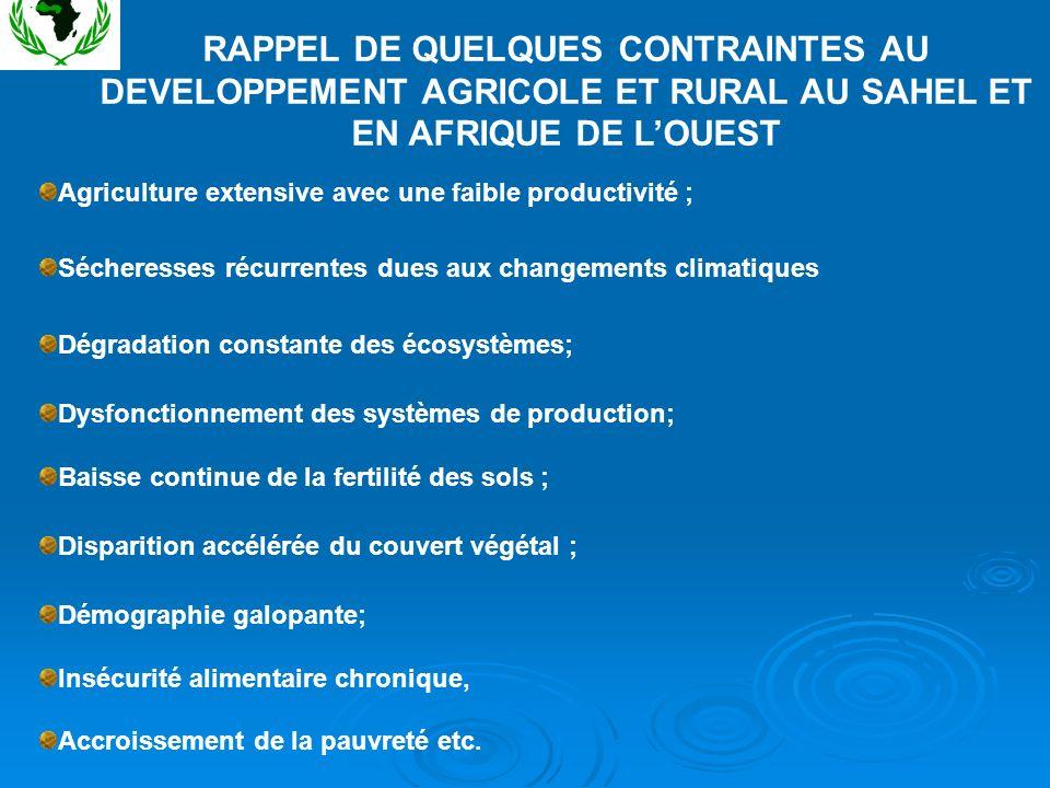 RAPPEL DE QUELQUES CONTRAINTES AU DEVELOPPEMENT AGRICOLE ET RURAL AU SAHEL ET EN AFRIQUE DE L'OUEST