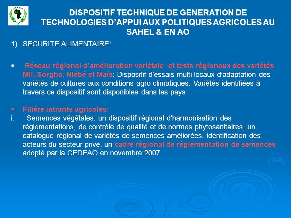 DISPOSITIF TECHNIQUE DE GENERATION DE TECHNOLOGIES D'APPUI AUX POLITIQUES AGRICOLES AU SAHEL & EN AO