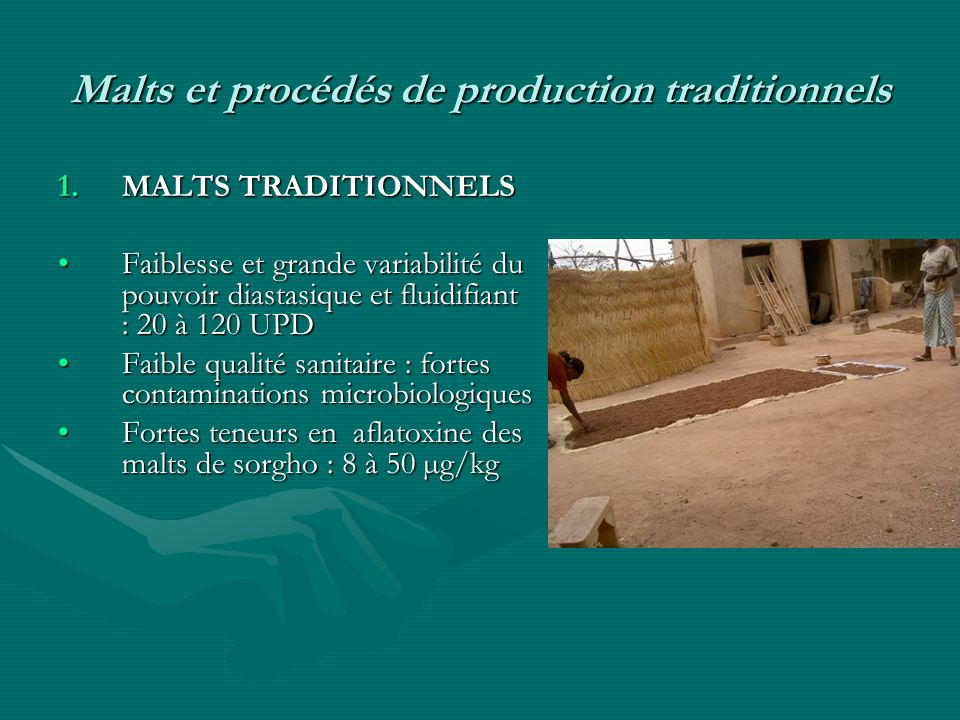 Malts et procédés de production traditionnels