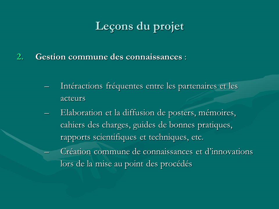 Leçons du projet Gestion commune des connaissances :
