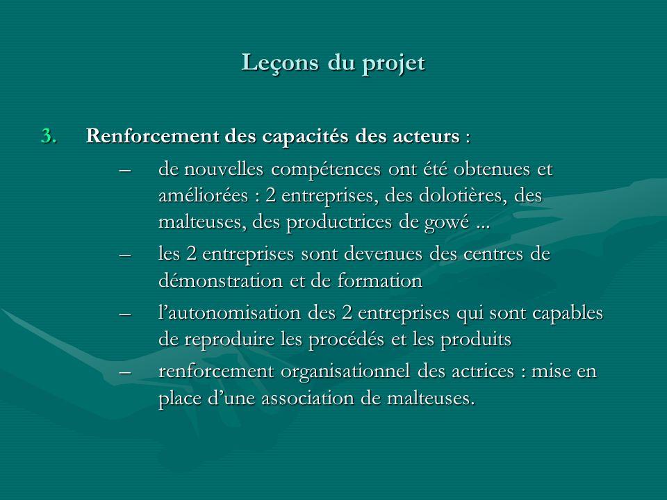 Leçons du projet Renforcement des capacités des acteurs :