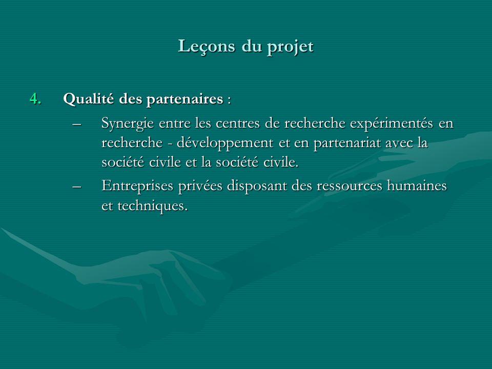 Leçons du projet Qualité des partenaires :