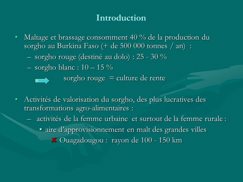 Introduction Maltage et brassage consomment 40 % de la production du sorgho au Burkina Faso (+ de 500 000 tonnes / an) :
