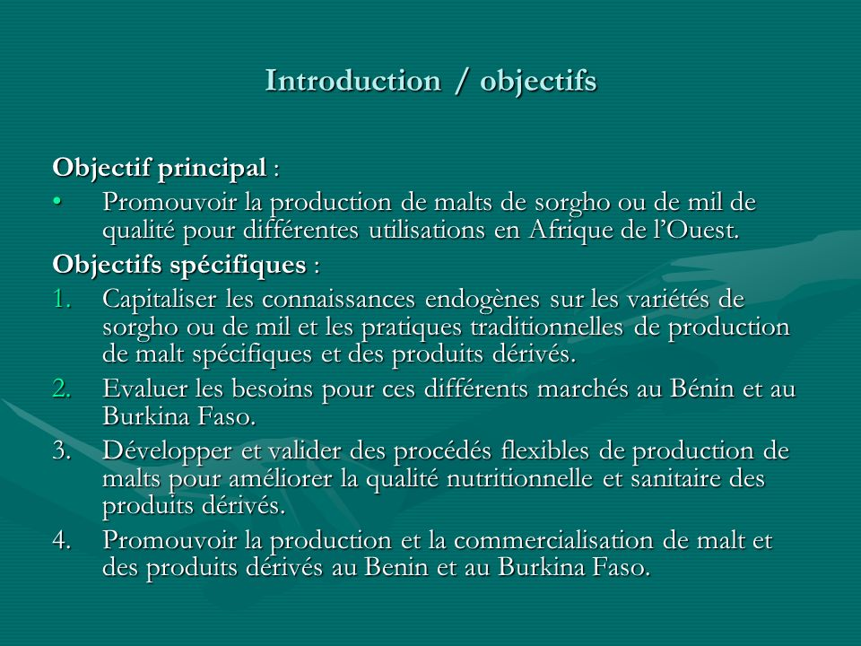 Introduction / objectifs