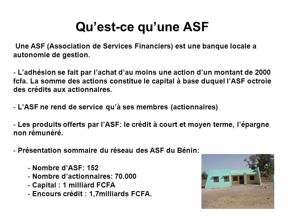 Qu'est-ce qu'une ASF Une ASF (Association de Services Financiers) est une banque locale a autonomie de gestion.