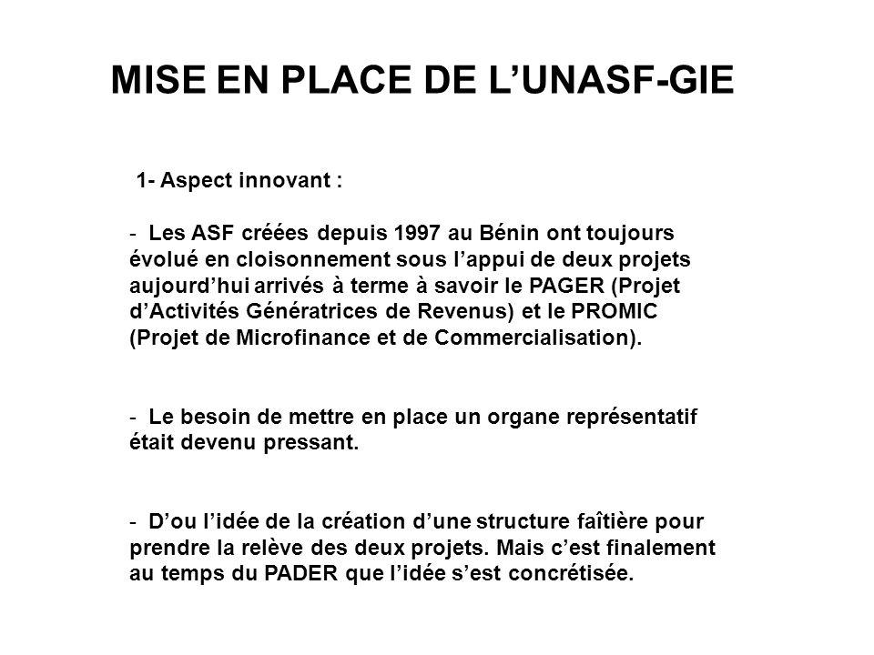 MISE EN PLACE DE L'UNASF-GIE