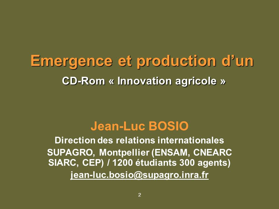 Emergence et production d'un CD-Rom « Innovation agricole »
