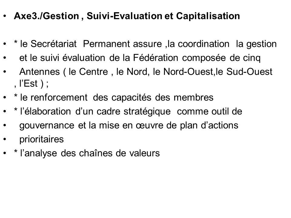 Axe3./Gestion , Suivi-Evaluation et Capitalisation