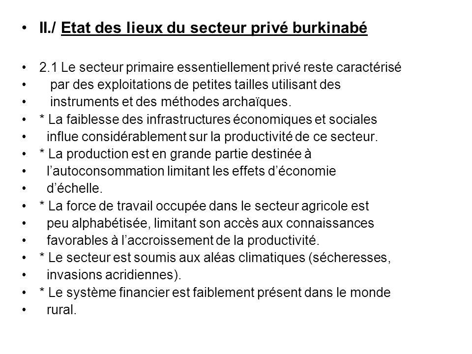 II./ Etat des lieux du secteur privé burkinabé