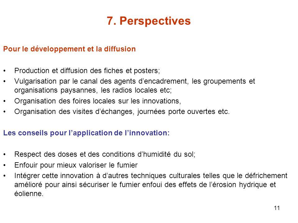 7. Perspectives Pour le développement et la diffusion
