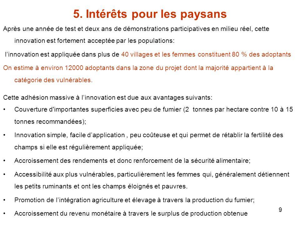 5. Intérêts pour les paysans