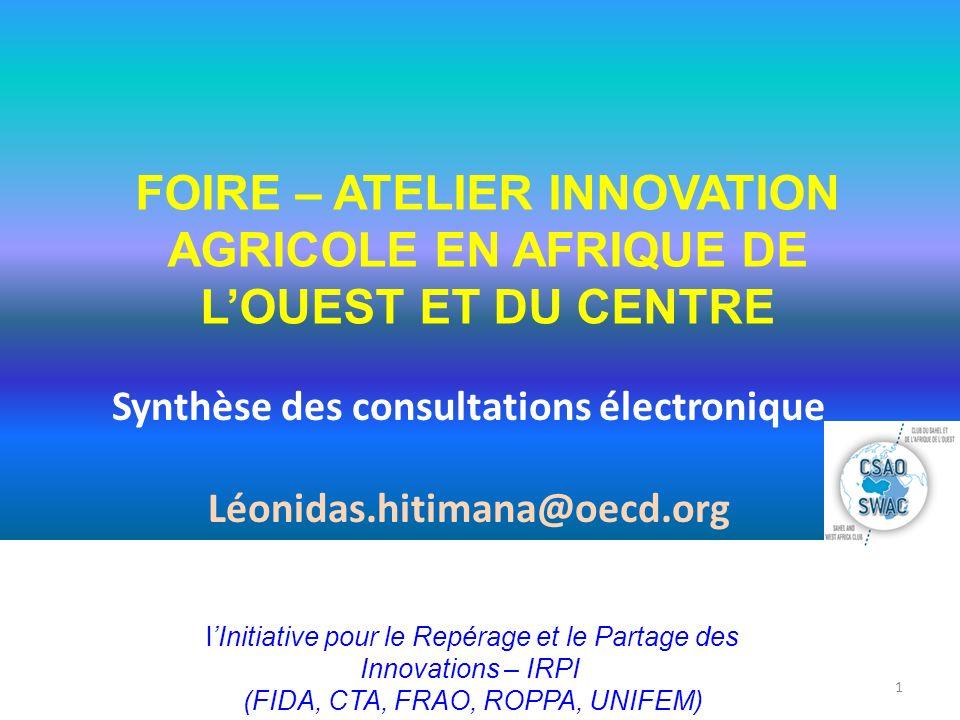 FOIRE – ATELIER INNOVATION AGRICOLE EN AFRIQUE DE L'OUEST ET DU CENTRE