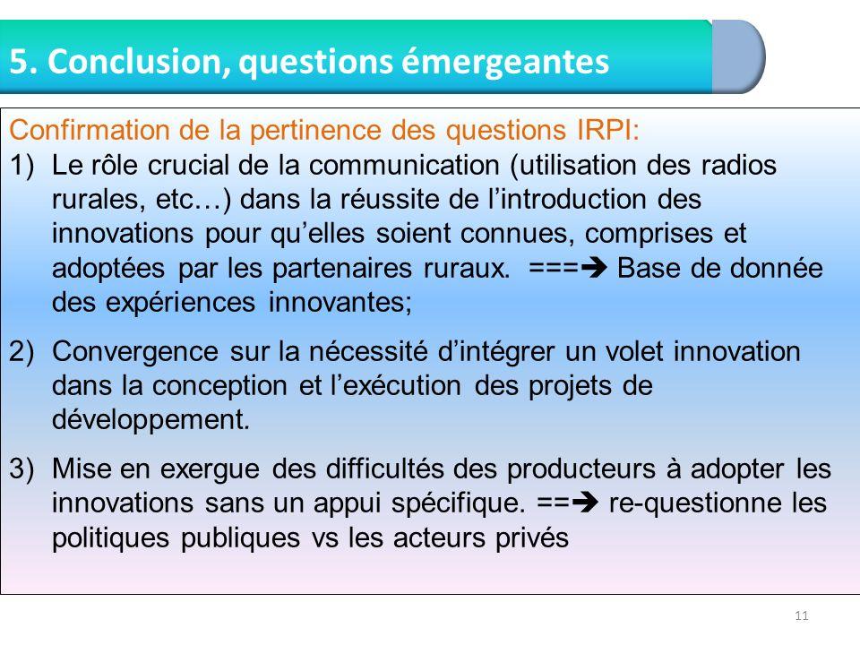 5. Conclusion, questions émergeantes