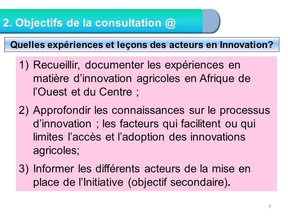 Quelles expériences et leçons des acteurs en Innovation