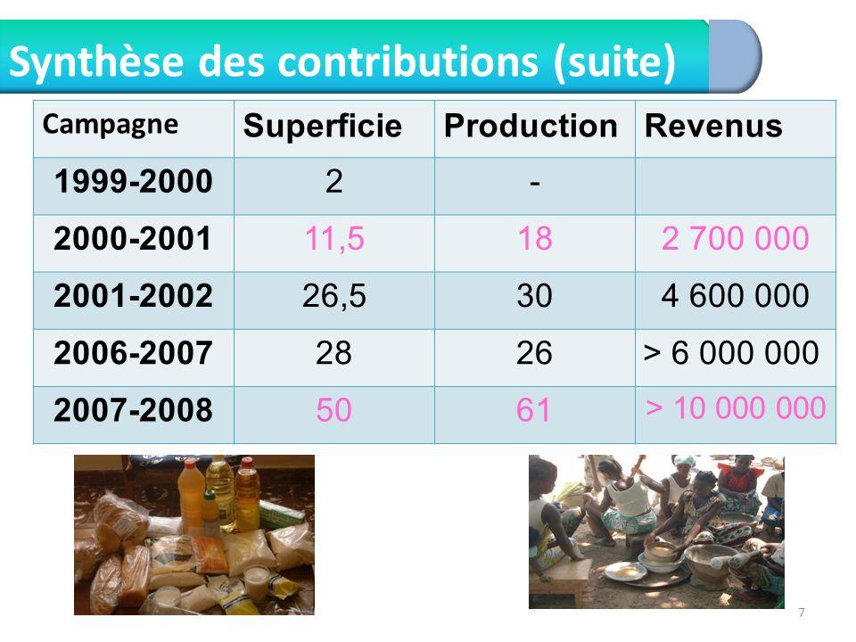 Synthèse des contributions (suite)