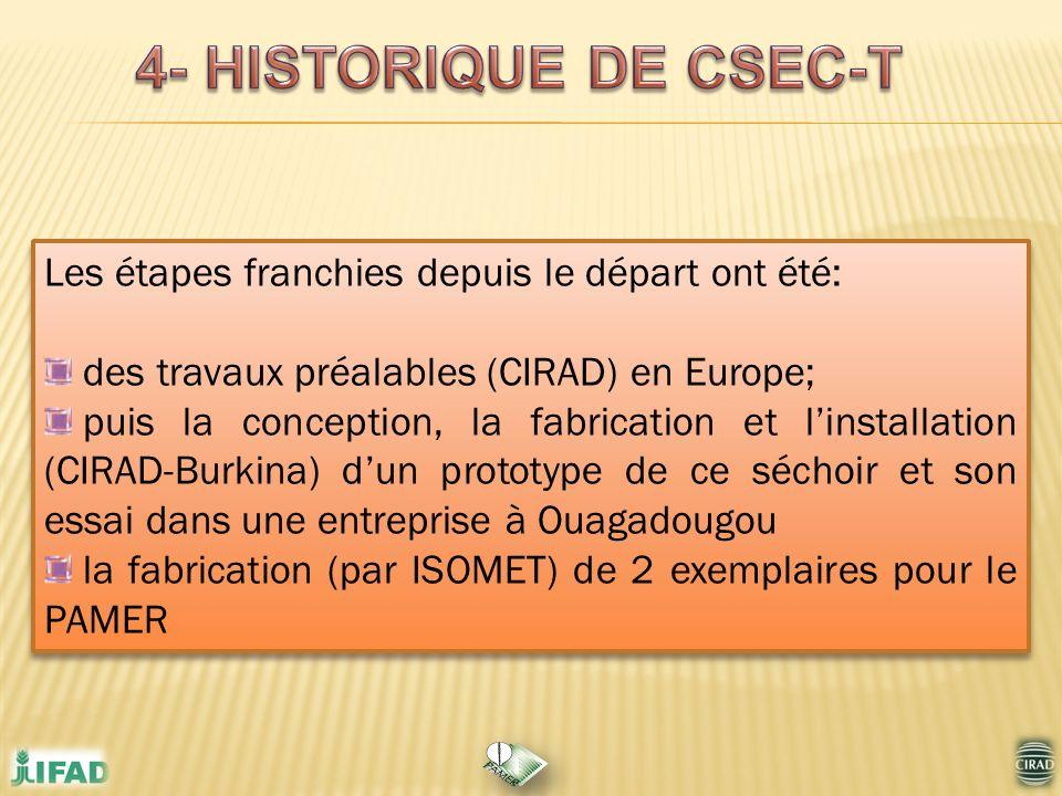 4- HISTORIQUE DE CSEC-T Les étapes franchies depuis le départ ont été: