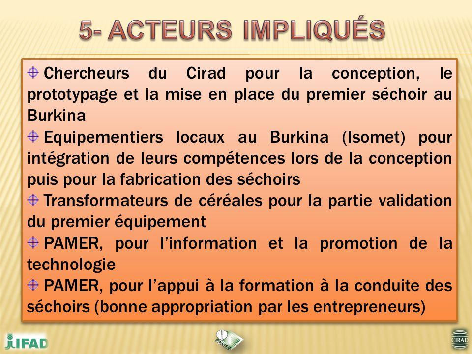 5- ACTEURS IMPLIQUÉS Chercheurs du Cirad pour la conception, le prototypage et la mise en place du premier séchoir au Burkina.