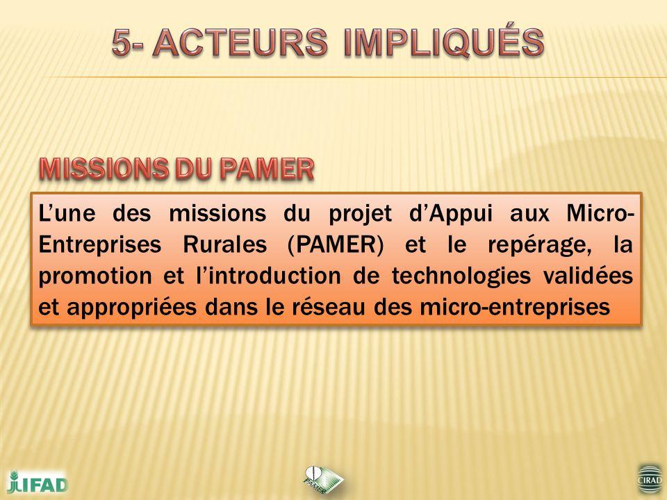 5- ACTEURS IMPLIQUÉS MISSIONS DU PAMER