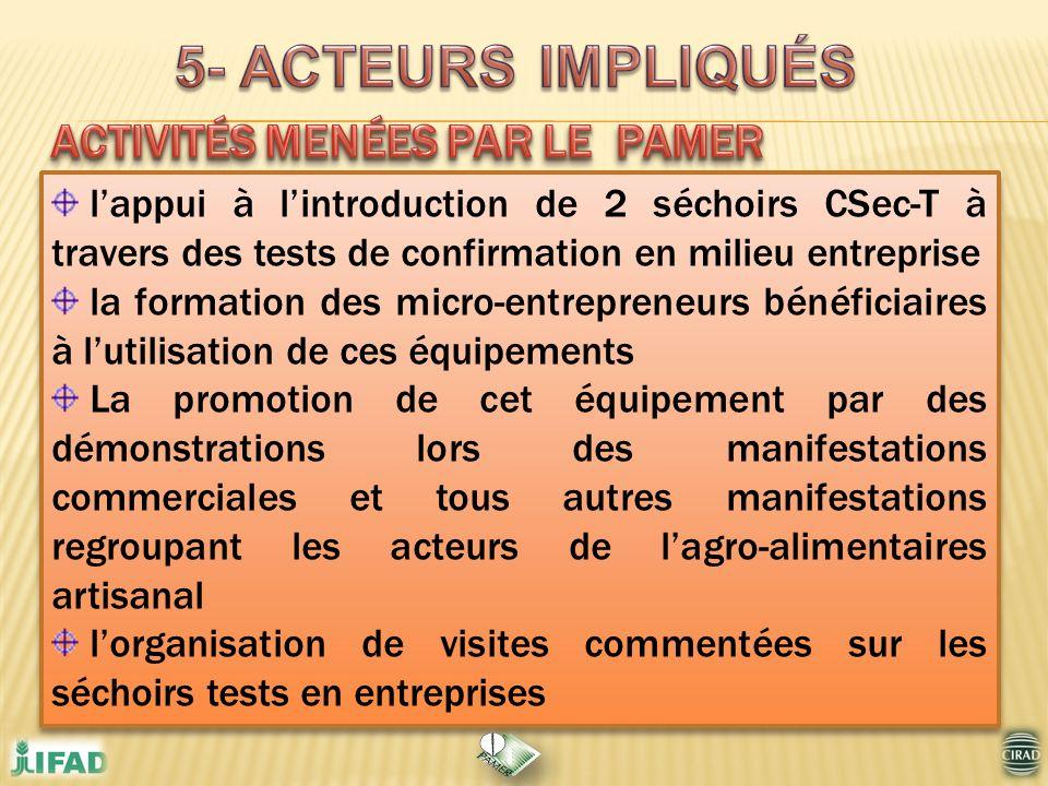 5- ACTEURS IMPLIQUÉS ACTIVITÉS MENÉES PAR LE PAMER