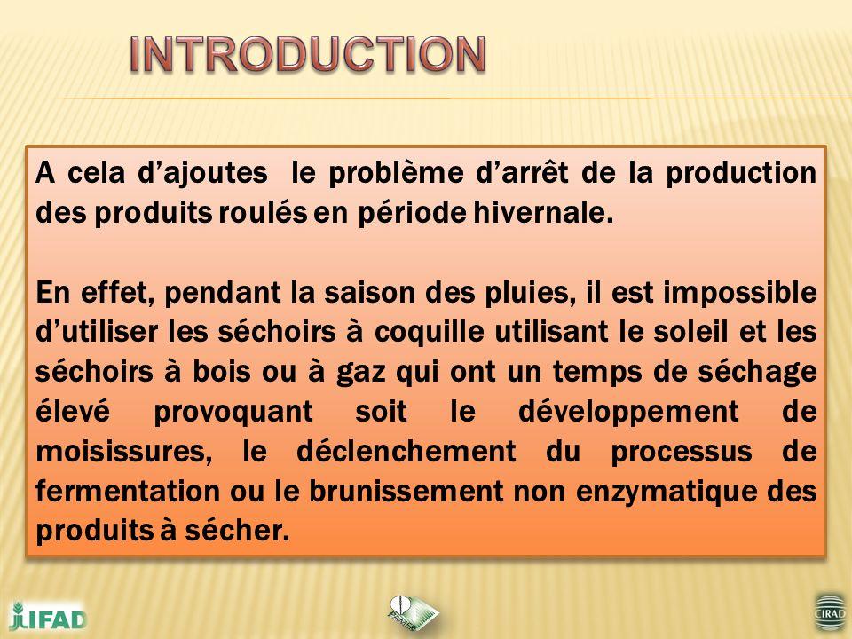 INTRODUCTION A cela d'ajoutes le problème d'arrêt de la production des produits roulés en période hivernale.