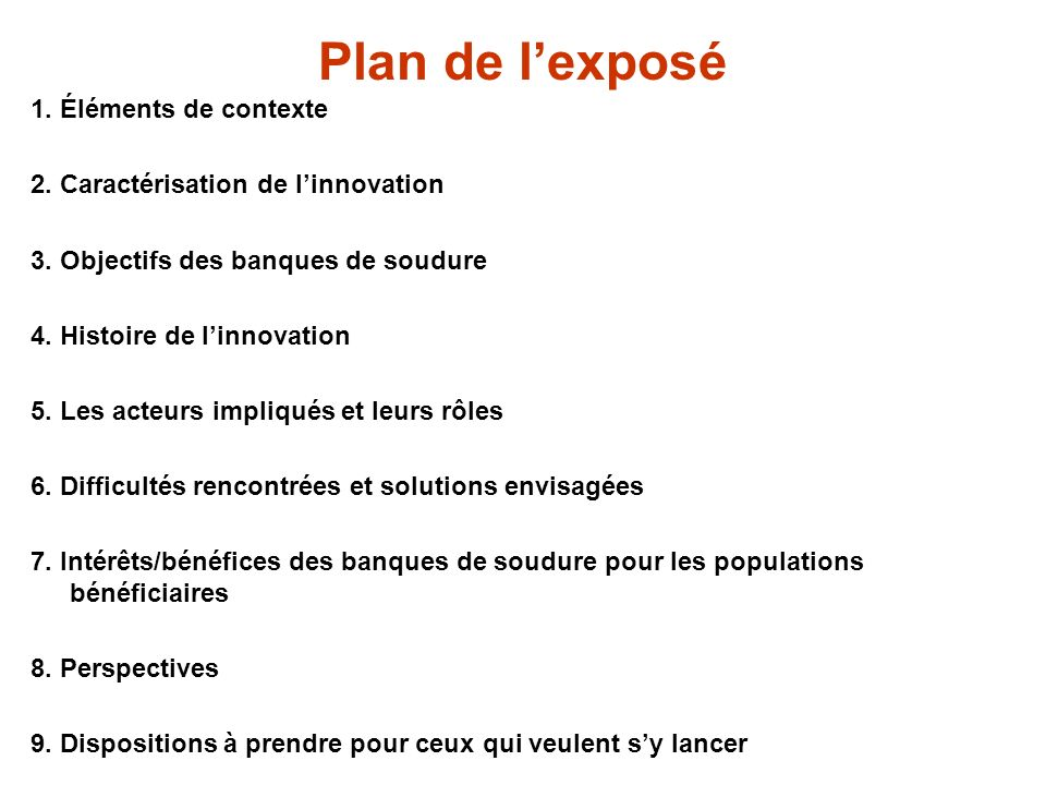 Plan de l'exposé 1. Éléments de contexte