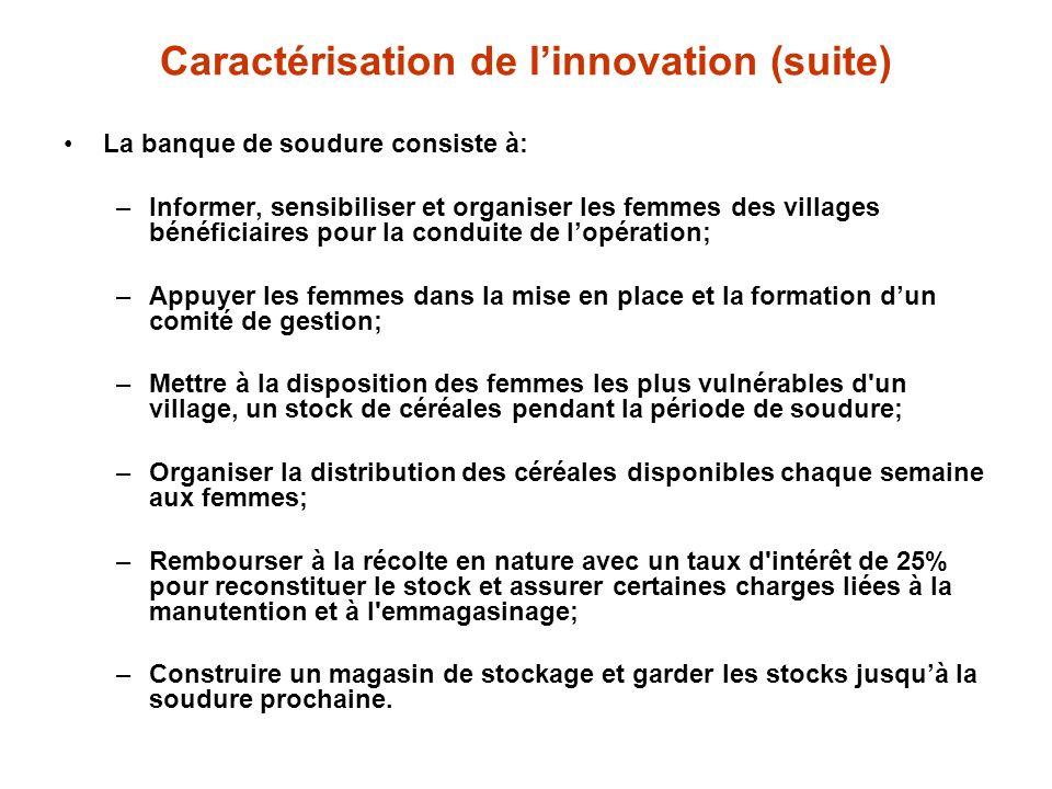 Caractérisation de l'innovation (suite)