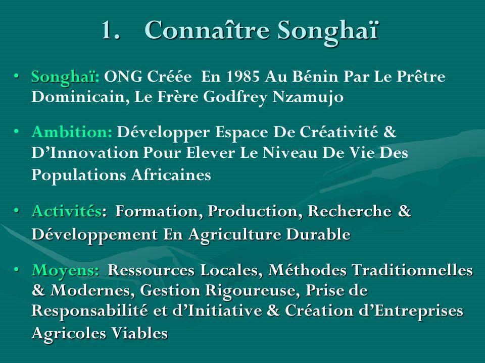 Connaître Songhaï Songhaï: ONG Créée En 1985 Au Bénin Par Le Prêtre Dominicain, Le Frère Godfrey Nzamujo.