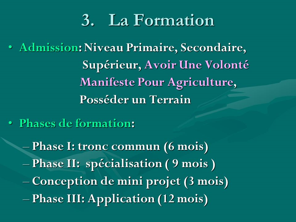 La Formation Admission: Niveau Primaire, Secondaire,