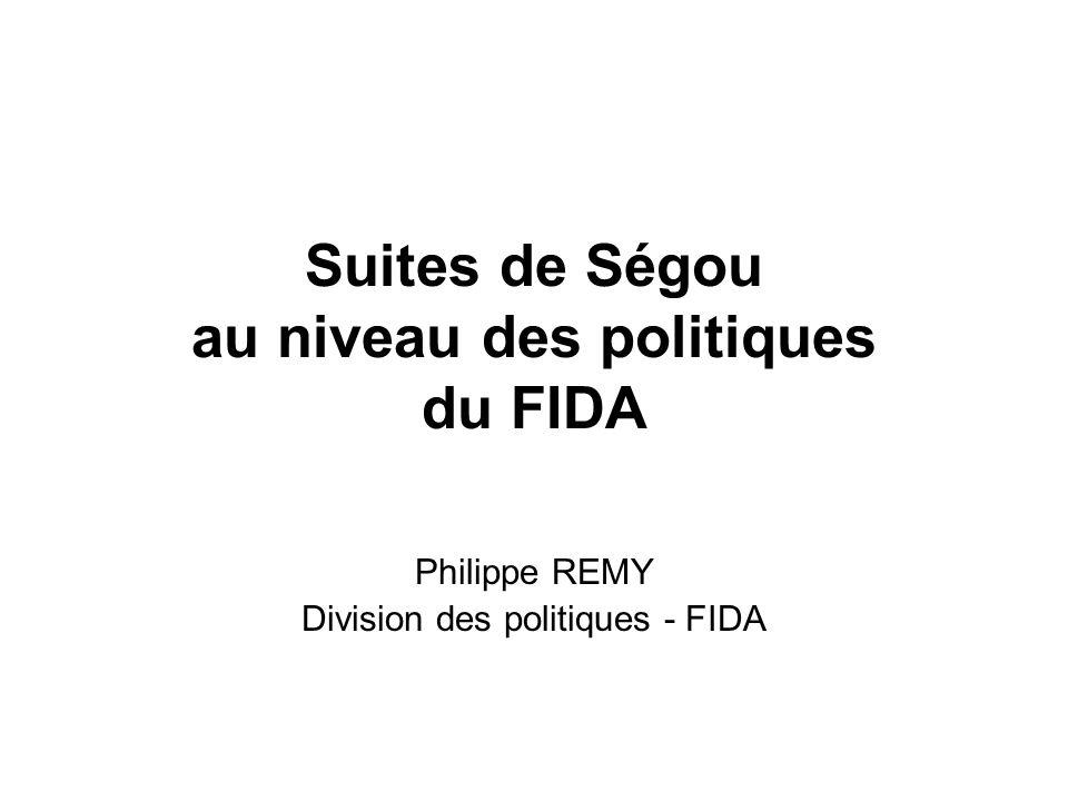 Suites de Ségou au niveau des politiques du FIDA