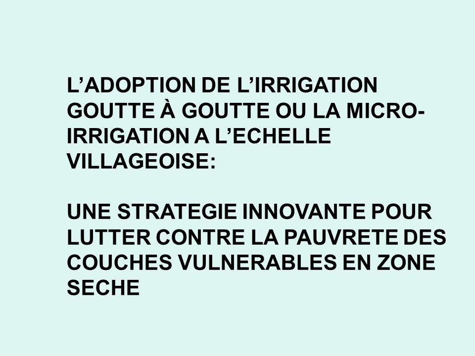 L'ADOPTION DE L'IRRIGATION GOUTTE À GOUTTE OU LA MICRO-IRRIGATION A L'ECHELLE VILLAGEOISE: