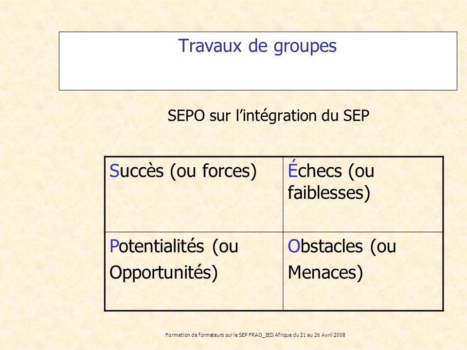 SEPO sur l'intégration du SEP